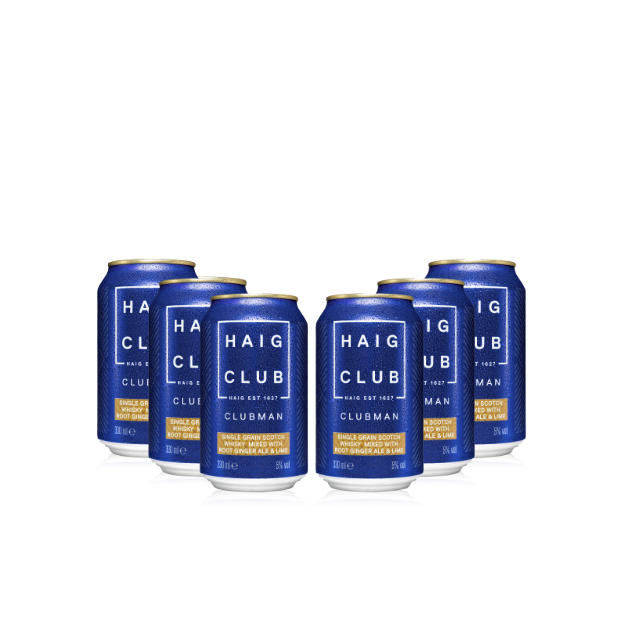 Haig Club Clubman & Root Ginger Ale with Lime 6 cans transparent background