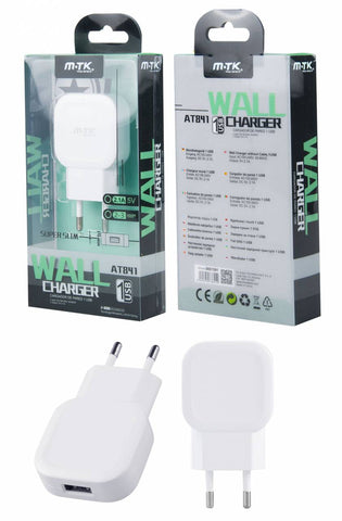 Cargador de Red Super Slim 1USB sin Cable, 2,1A Blanco
