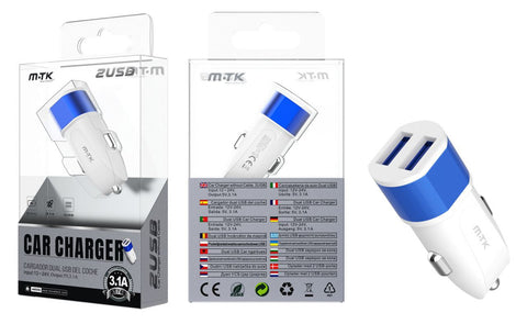 AT741 BL+AZ Cargador Mechero Meteor sin cable, 2 USB , 3.1A/5V,Blanco + Azul