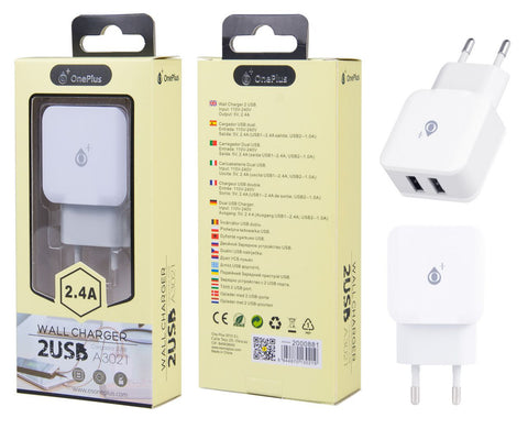 Cargador Red Quick sin Cable, 2,4A 2USB, Blanco