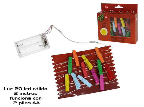 GUIRNALDA PINZAS COLOR 20LED CáLIDO 2MT