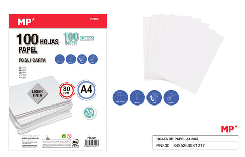 PAPEL A4 100 HOJAS 80G MP