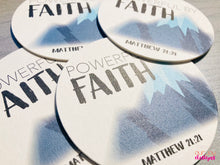 Load image into Gallery viewer, Powerful by Faith Mountain Coasters, Set of 4 | Zoom Convention, Matthew 21:21