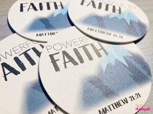 Powerful by Faith Mountain Coasters, Set of 4 | Zoom Convention, Matthew 21:21