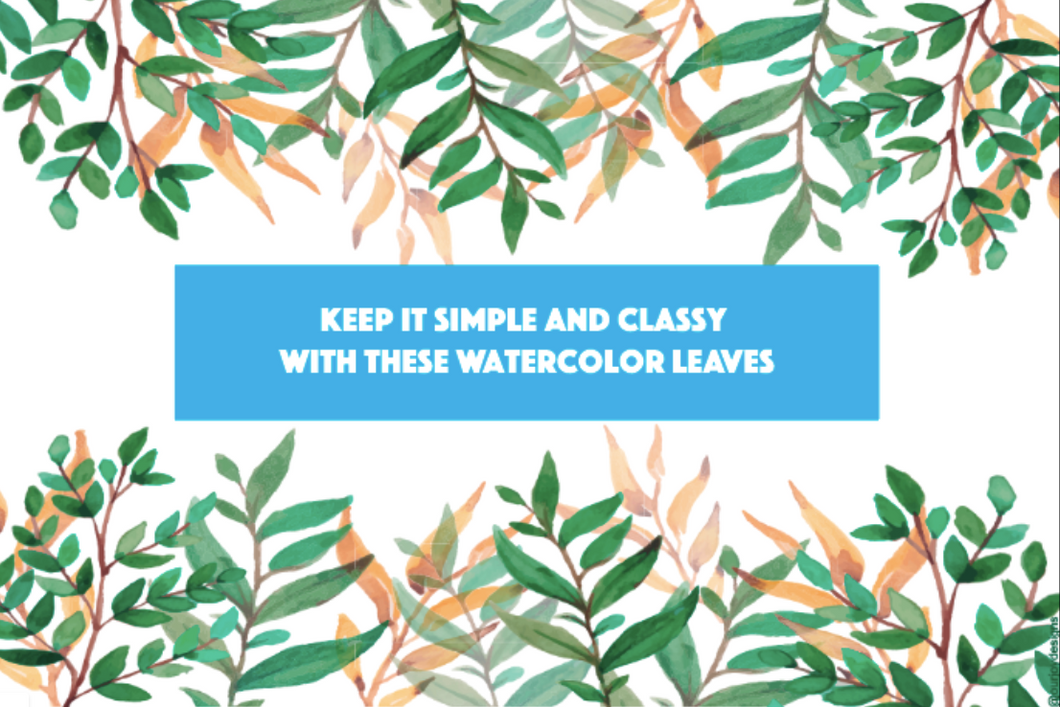 Watercolor Leaves Zoom Background-Zoom Background-Our Joy Designs