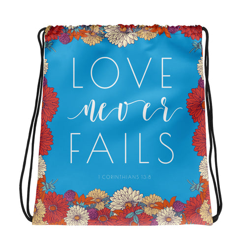Blue and Red Floral Love Never Fails Drawstring bag-JW Gifts-Our Joy Designs