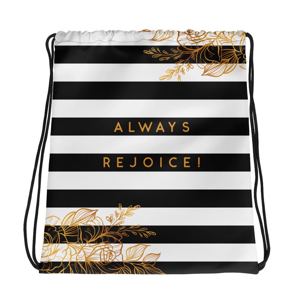 Always Rejoice Black, White Stripe and Gold Floral Drawstring bag-JW Gifts-Our Joy Designs
