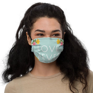 Love Never Fails Mint Floral Premium Face Mask with Nose Wire + Filter Pocket-JW Gifts-Our Joy Designs