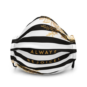 Always Rejoice Black & White Striped Premium Face Mask-JW Gifts-Our Joy Designs