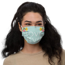 Load image into Gallery viewer, Love Never Fails Mint Floral Premium Face Mask with Nose Wire + Filter Pocket-JW Gifts-Our Joy Designs