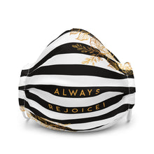 Load image into Gallery viewer, Always Rejoice Black & White Striped Premium Face Mask-JW Gifts-Our Joy Designs