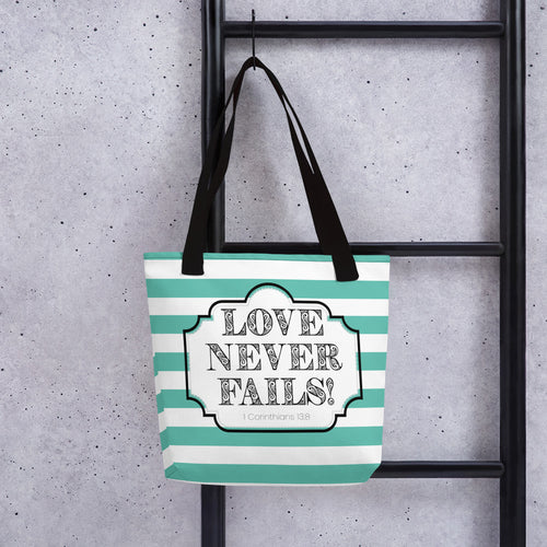 Love Never Fails Mint Striped Tote Bag-JW Gifts-Our Joy Designs