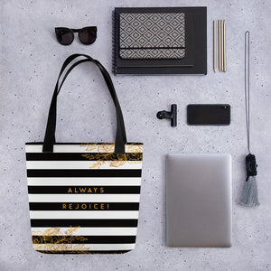 Always Rejoice Black and Gold Stripe Tote bag-JW Gifts-Our Joy Designs