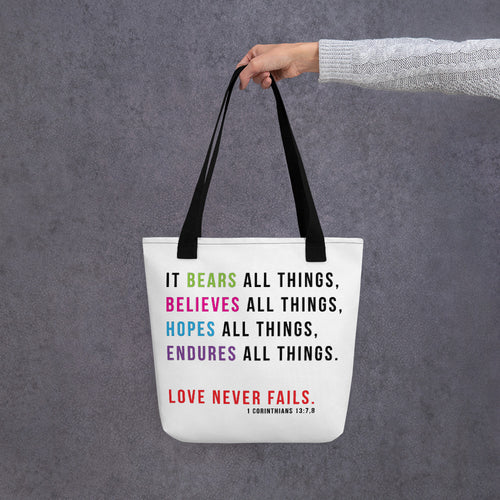 Love Never Fails Scripture Tote bag-JW Gifts-Our Joy Designs
