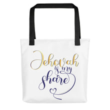 Load image into Gallery viewer, Jehovah is My Share with Heart Tote Bag-JW Gifts-Our Joy Designs