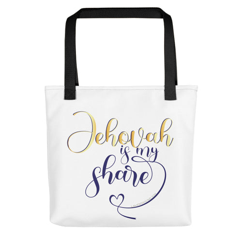 Jehovah is My Share with Heart Tote Bag-JW Gifts-Our Joy Designs