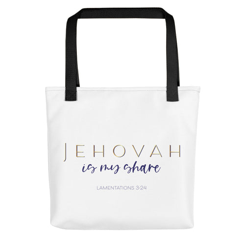 Jehovah is My Share Navy & Gold Tote Bag-JW Gifts-Our Joy Designs