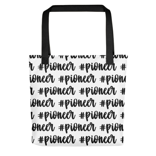 Pioneer Cursive Hashtag (Black) Tote bag-JW Gifts-Our Joy Designs