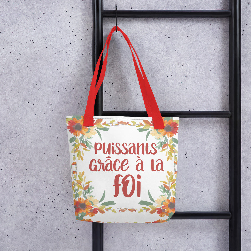 FRENCH Puissants Grace A La Foi Floral Tote Bag