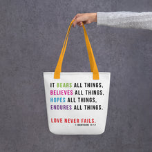 Load image into Gallery viewer, Love Never Fails Scripture Tote bag-JW Gifts-Our Joy Designs