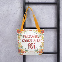 Load image into Gallery viewer, FRENCH Puissants Grace A La Foi Floral Tote Bag