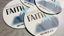 Load and play video in Gallery viewer, Powerful by Faith Mountain Coasters, Set of 4 | Zoom Convention, Matthew 21:21