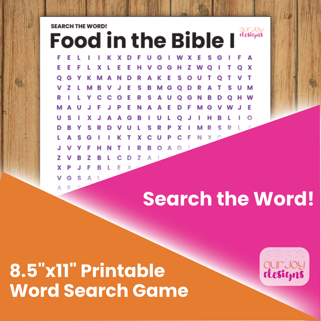 Food in the Bible, Part 1 Printable Word Search Puzzle | For Family Worship, Personal Study, Zoom Game Night | JW Printable Game-Games-Our Joy Designs