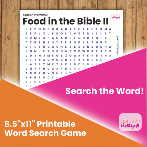 Food in the Bible, Part 2 Printable Word Search Puzzle for Family Worship, Personal Study, JW Zoom Game Night-Games-Our Joy Designs