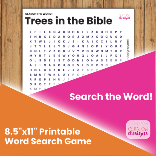 Trees in the Bible Printable Word Search Puzzle Game for Personal Study, Family Worship | JW Family-Games-Our Joy Designs