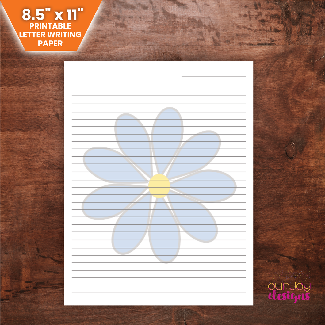 8.5 x 11 Blue Daisy Printable Letter Writing, Notes Paper | JW Letterwriting | Flower, Nature Lined Paper-Letter Writing-Our Joy Designs