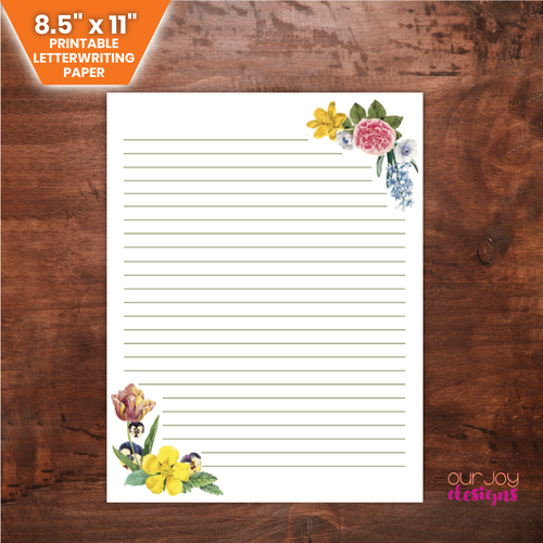 Floral Corner Border Printable Letterwriting Paper | JW Letterwriting Paper-Letter Writing-Our Joy Designs