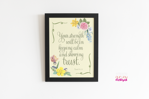 Calm and Trust 2021 Yeartext Printable JW Wall Print | 8 x 10 Wall Print | Isaiah 30:15-Wall Print-Our Joy Designs