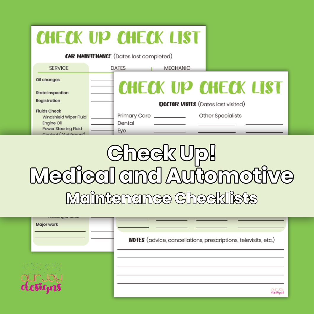 Printable Medical and Automotive Maintenance Checklists | 8.5 x 11