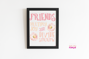 Friends Add Joy White Background | Printable Inspirational Quote for Home Office, Bedroom-Wall Print-Our Joy Designs