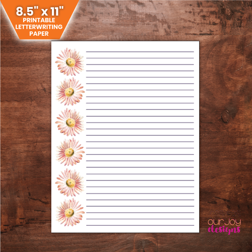 Pink Daisies Floral Printable Letterwriting Paper | JW Ministry, JW Encouragement-Letter Writing-Our Joy Designs