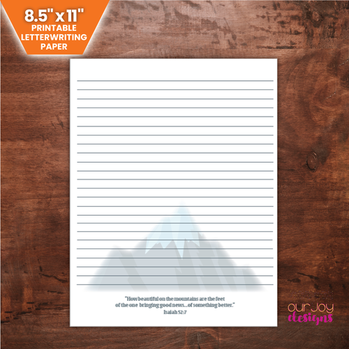 Good News Mountain Printable Letterwriting Paper | Isaiah 52:7 | JW Letterwriting Paper for Encouragement, Sharing Good News, Future-Letter Writing-Our Joy Designs