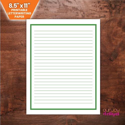 Vibrant Green Border Printable Lined Letterwriting Paper | 8.5 x 11