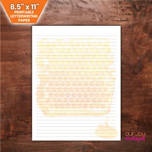 "Honeycomb 8.5 x 11"" Printable Letter Writing Paper 