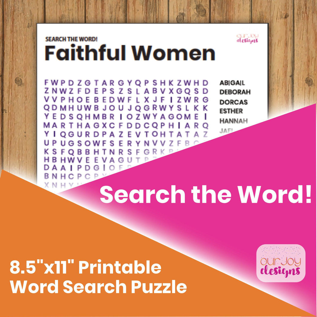 Faithful Women Search the Word! Word Search Puzzle | 8.5x 11