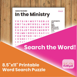 "In the Ministry JW Printable Word Search Puzzle | 8.5"" x 11"" With Answer Key-Games-Our Joy Designs"