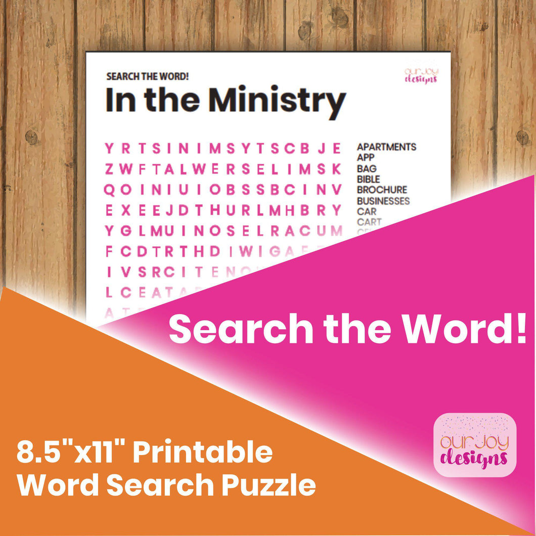 In the Ministry JW Printable Word Search Puzzle | 8.5