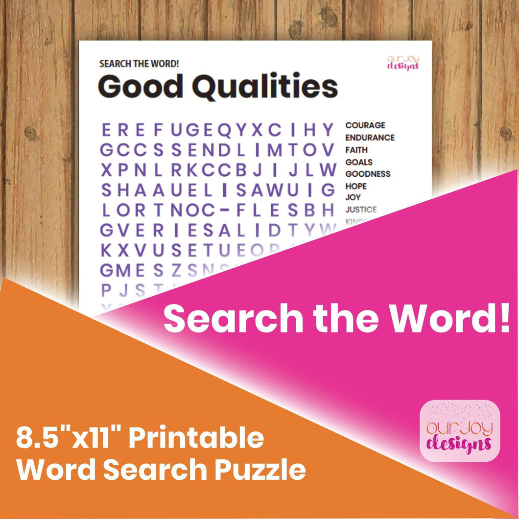 Good Qualities JW Printable Word Search Puzzle | 8.5