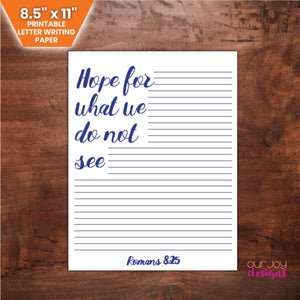 "Hope For What We Do Not See, Romans 8:25 | 8.5 x 11"" JW Letter Writing Paper 