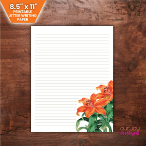 "Lilies Letter Writing Paper | 8.5"" x 11"" Lined Paper for JW Letter Writing 