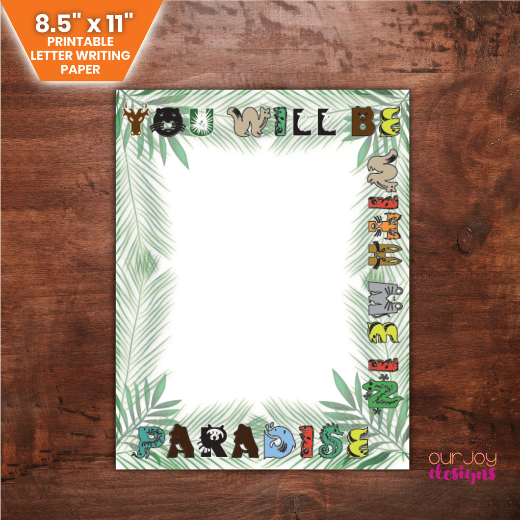 Kid's Paradise Letter Writing Paper | You Will Be With Me In Paradise, Luke 23:43 | 8.5x11