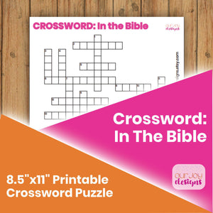 "In the Bible Crossword Puzzle | 8.5"" x 11"" 
