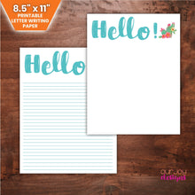 "Load image into Gallery viewer, Hello with Cactus Print 8.5 x 11"" Letter Writing Paper 