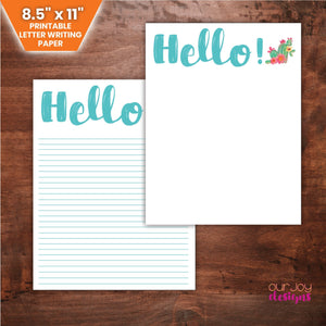 "Hello with Cactus Print 8.5 x 11"" Letter Writing Paper 