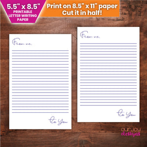 "From Me to You Half Letter Writing Paper | Thinking of You | 5.5 x 8.5"" JW Letter Writing Paper-Letter Writing-Our Joy Designs"