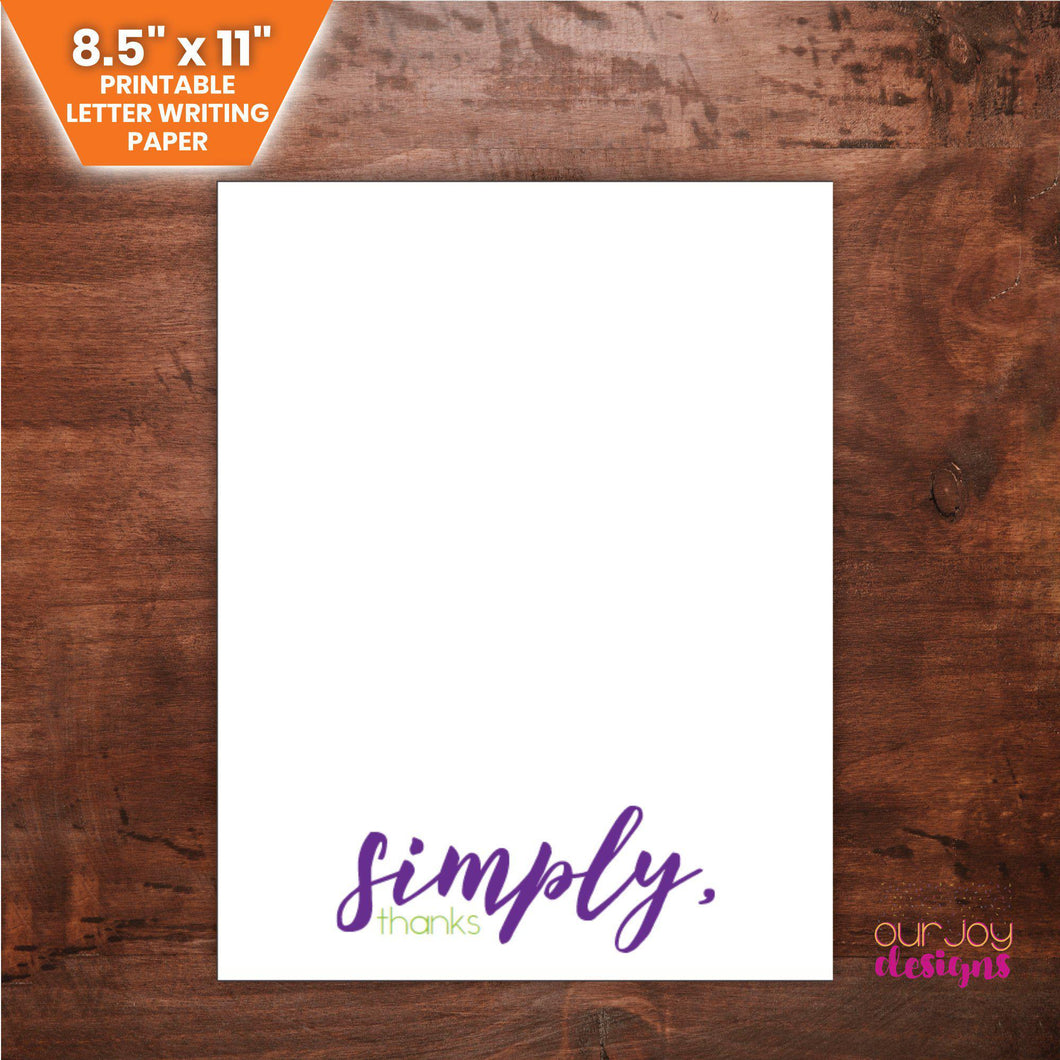 Simply Thanks | Purple and Green Printable Letter Writing Paper - 8.5 x 11